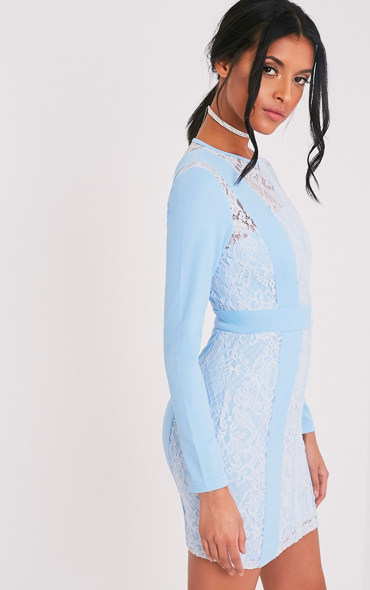 Issie Powder Blue Long Sleeve Lace Panel Bodycon Dress 4