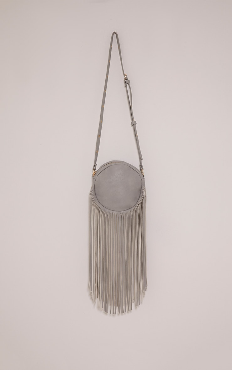 Toyah Grey Faux Leather Circle Fringe Shoulder Bag 1