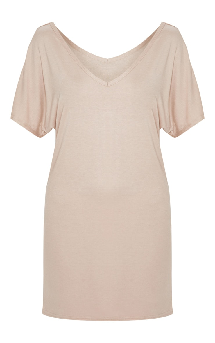 Basic Nude V Neck T Shirt Dress 3