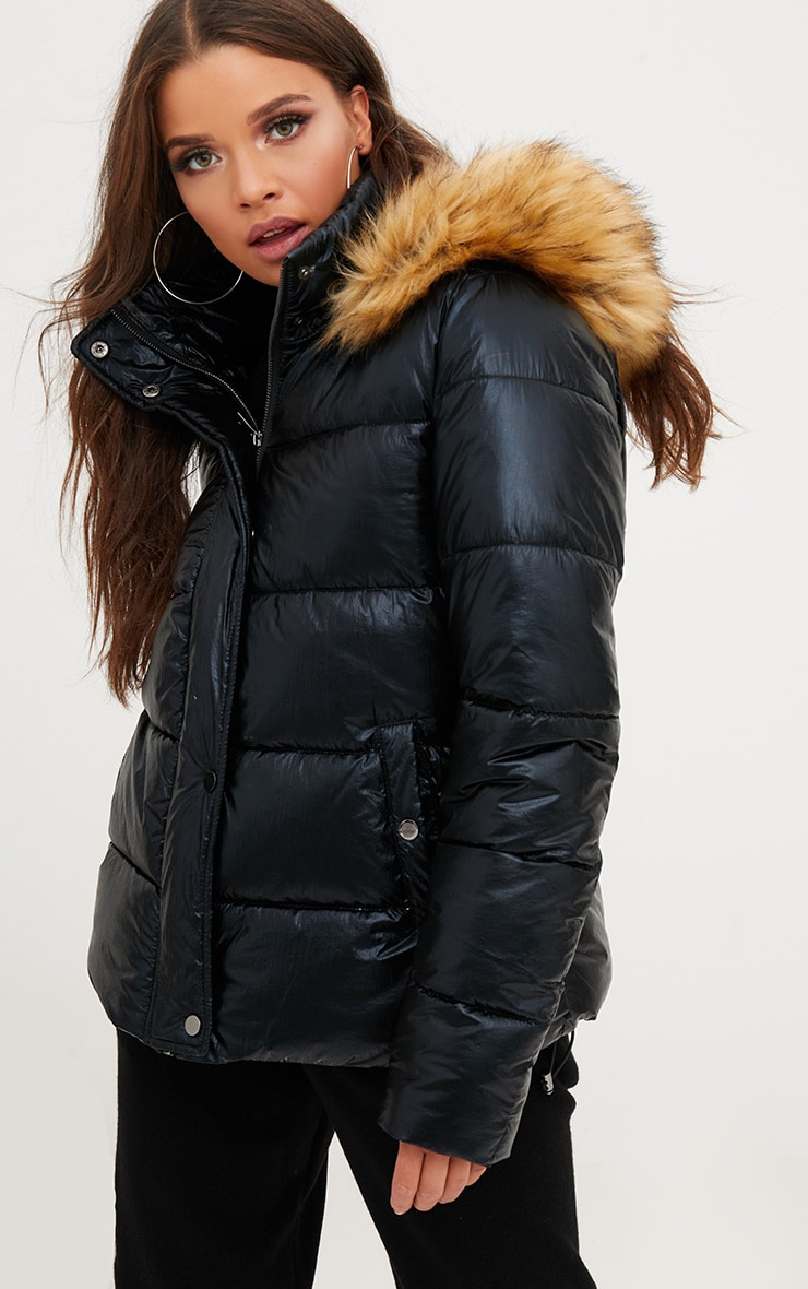 Black Foil Puffer Jacket With Faux Fur Hood 1
