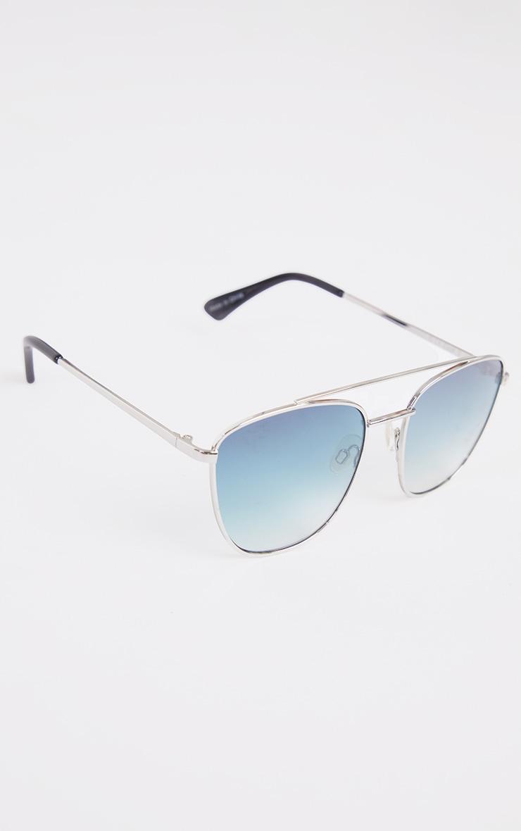 Blue Fade Cut Out Brow Bar Aviator Sunglasses 2