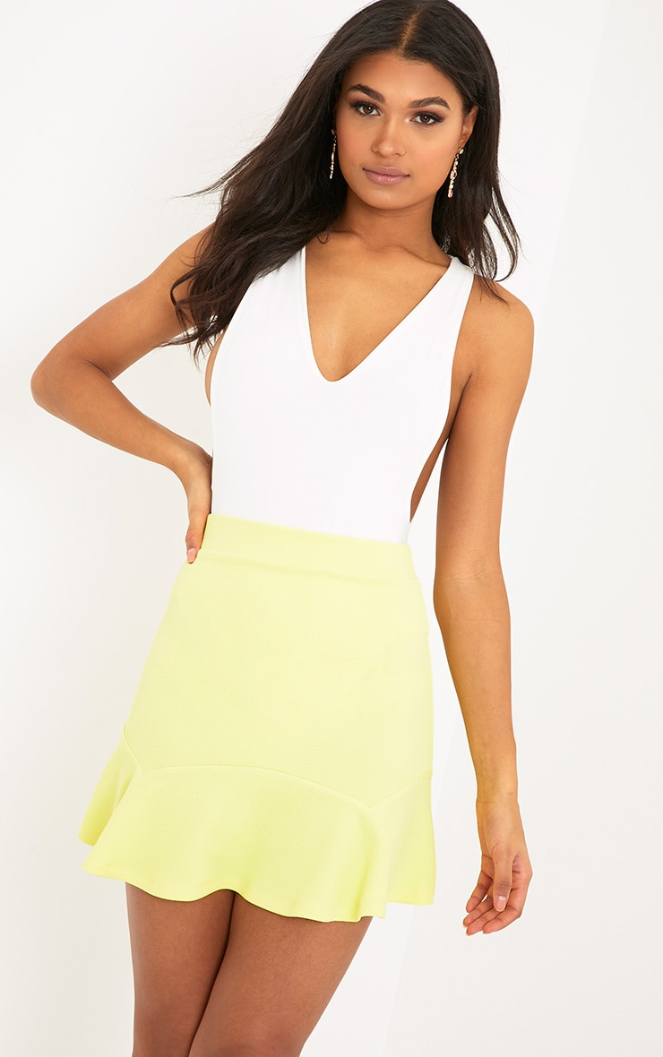 Verity Lemon Textured Flippy Hem Mini Skirt 1