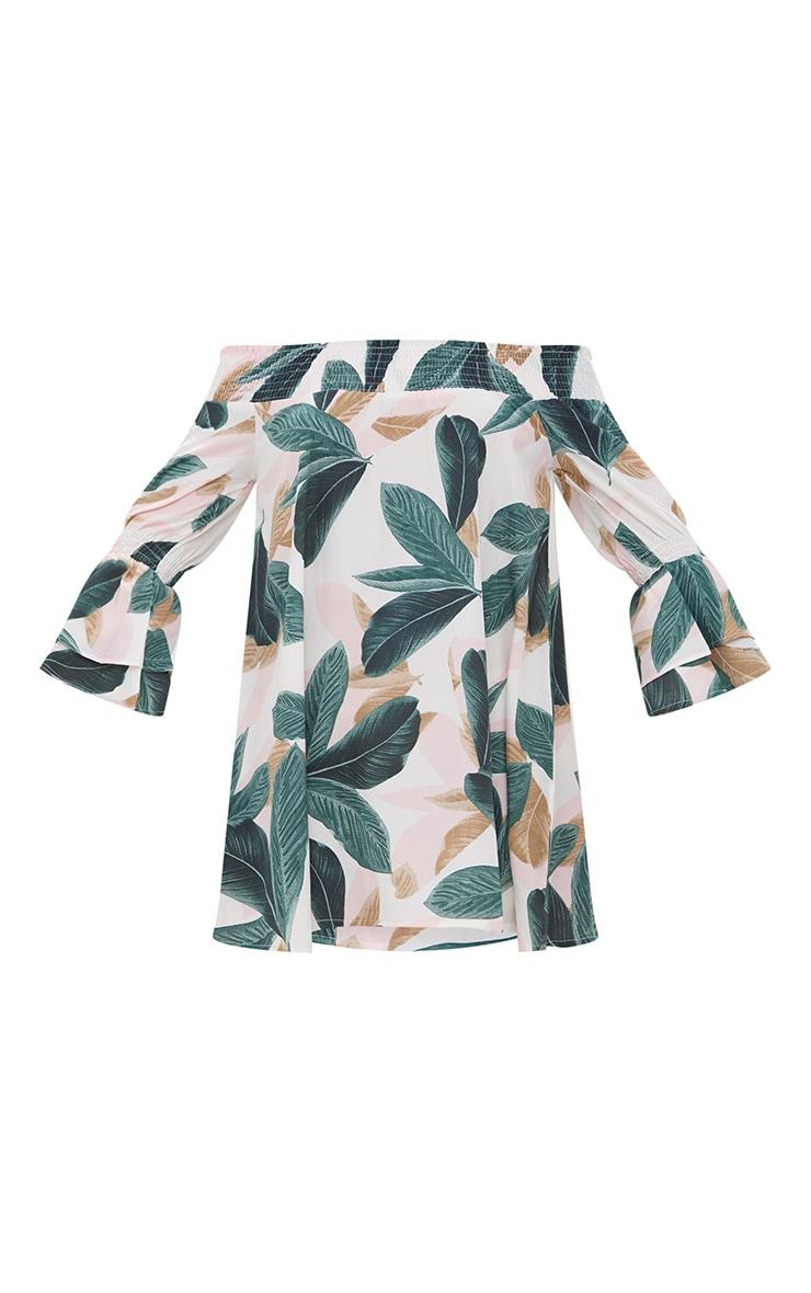 Robe droite bardot blanche imprimé palmiers  3