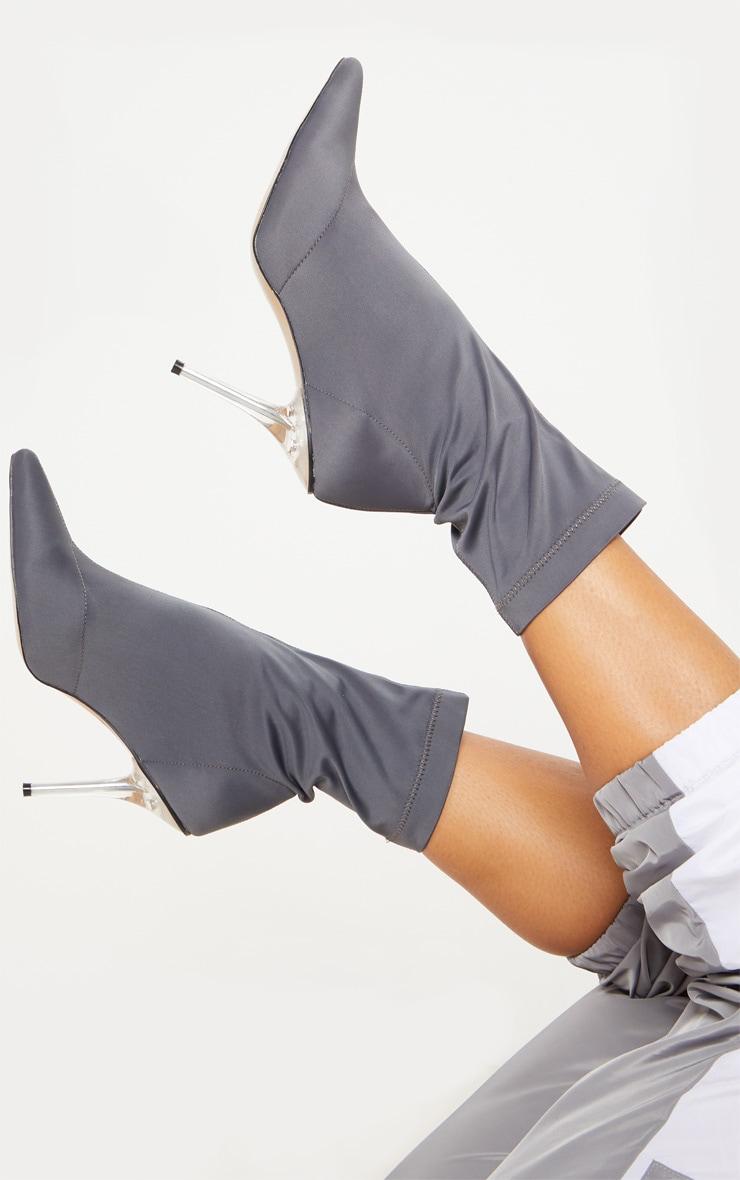 Charcoal Grey Clear Heel Sock Boot  2