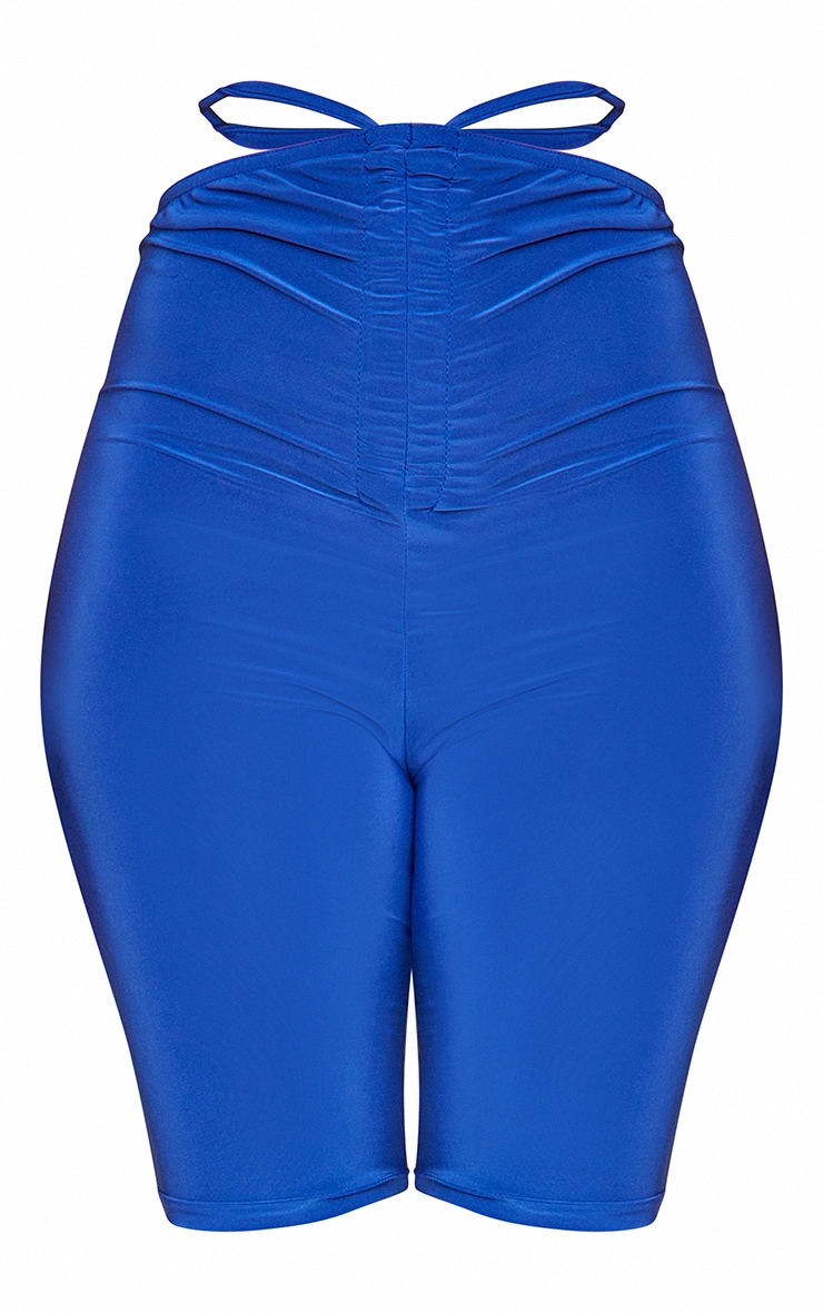 Bright Blue Slinky Ruched Waist Cycle Shorts 6
