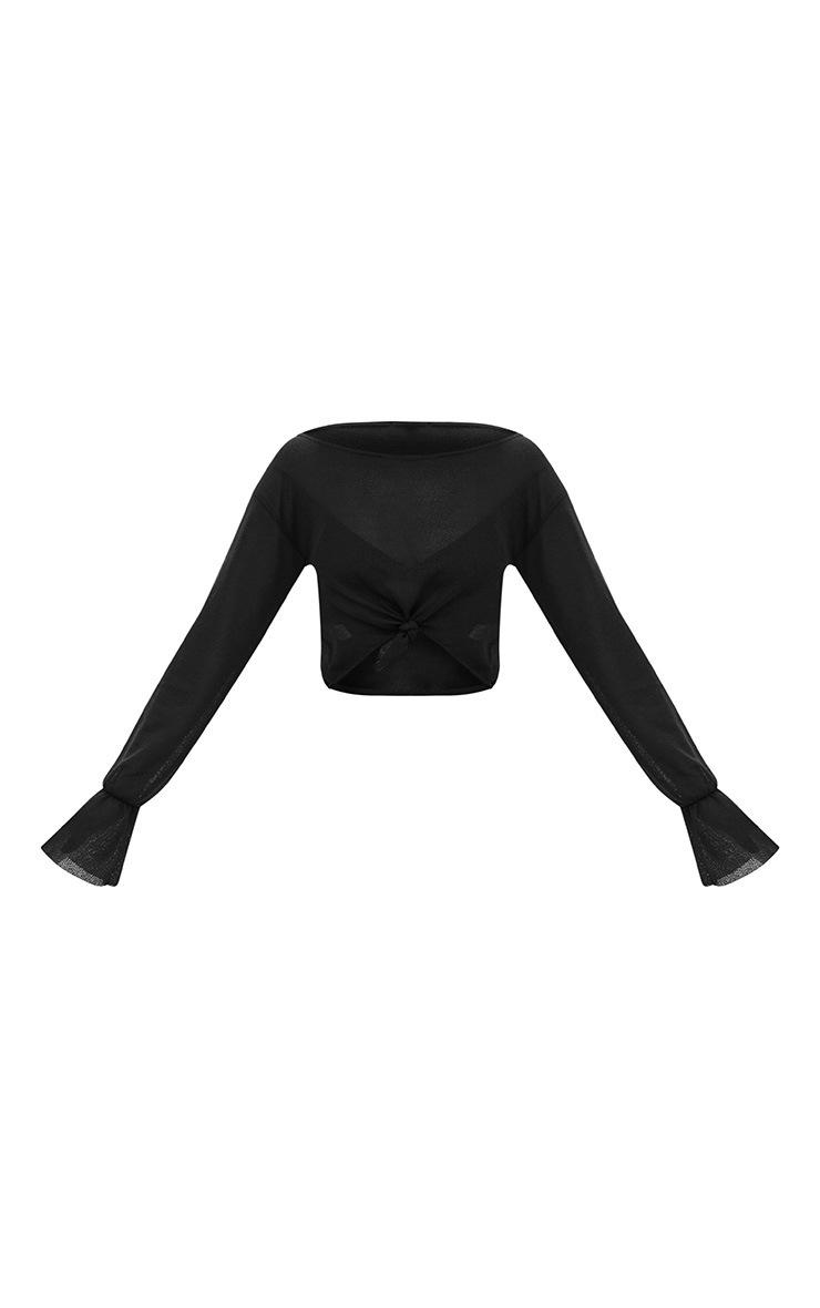 Black Lightweight Knit Off The Shoulder Crop Top  3