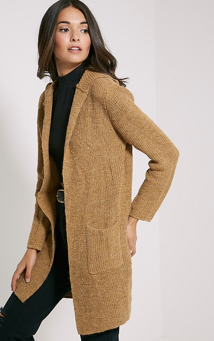 Selene Camel Knitted Hooded Cardigan 4