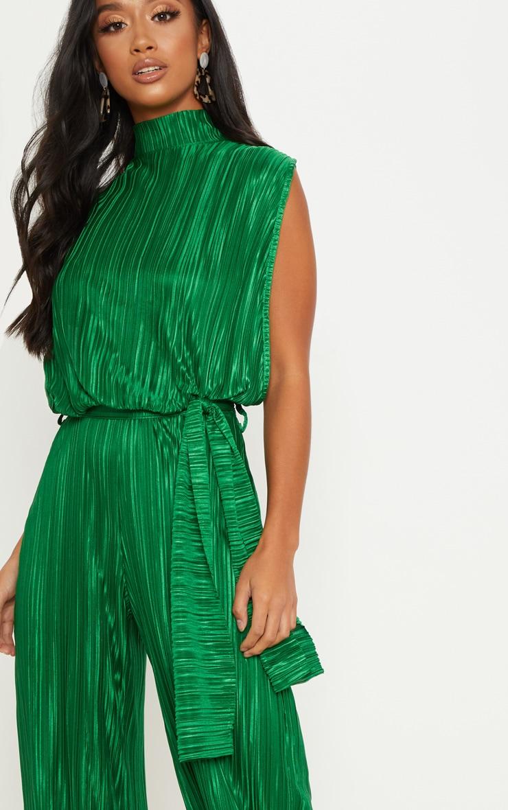 Petite Emerald Green Plisse Tie Waist High Neck Sheer Jumpsuit 5