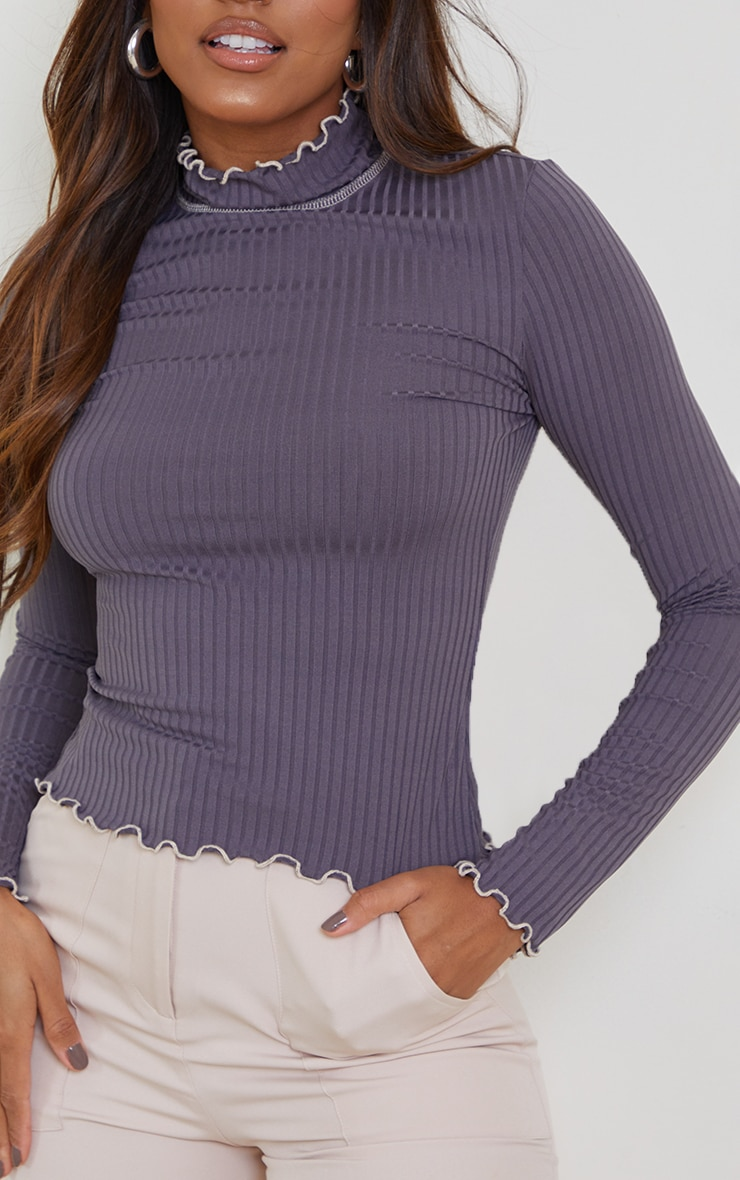 Grey Rib Lettuce Hem Long Sleeve Top 4