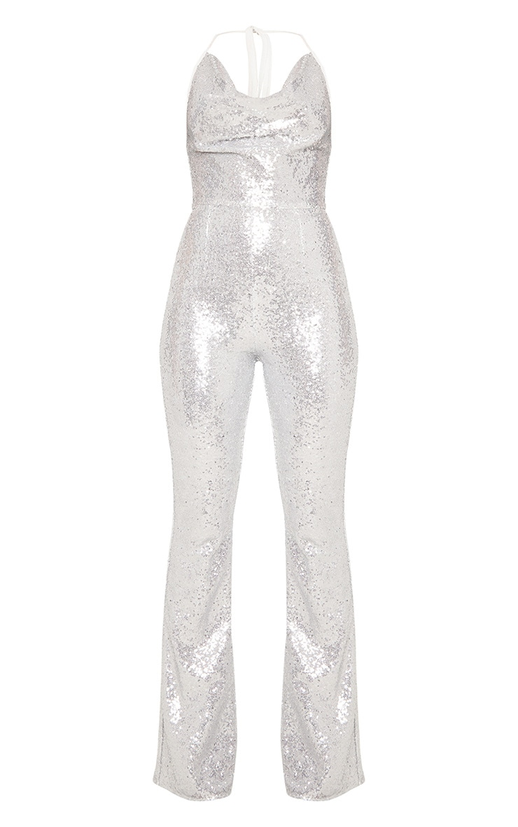 Silver Sequin Cowl Neck Halterneck Jumpsuit 4