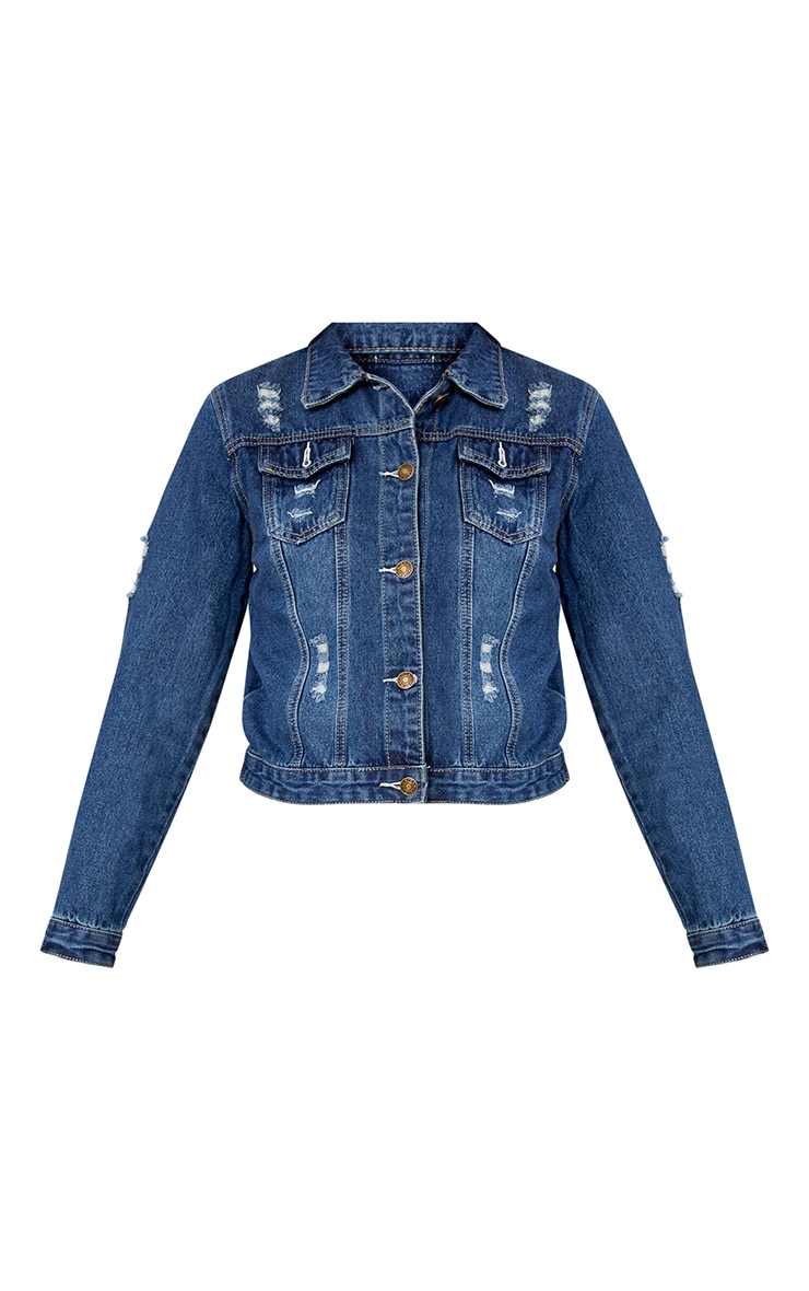 Mid Wash Cross Stitch Detail Denim Jacket 3