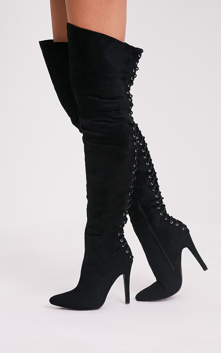 Carlie Black Lace Up Back Over The Knee Heeled Boots 4