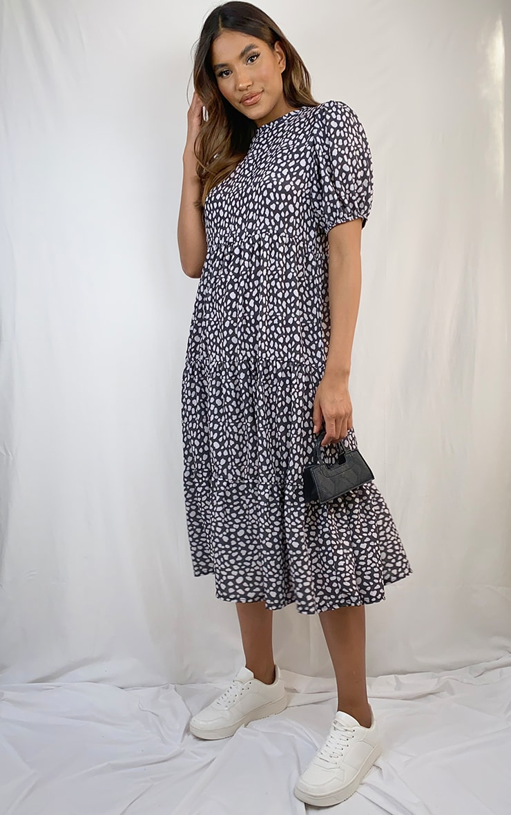 Black Dalmatian Print Puff Sleeve Tiered Hem Midi Smock Dress 3