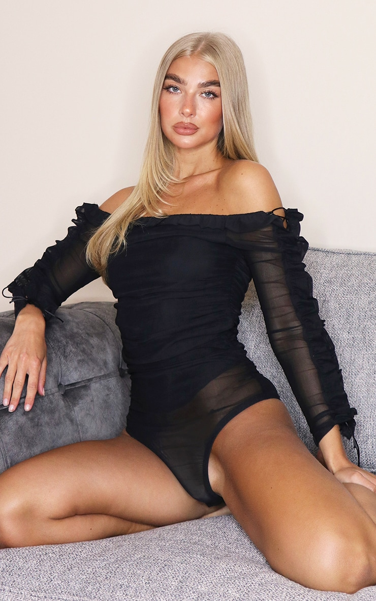 Black Mesh Frill Top Edge Bardot Bodysuit 2