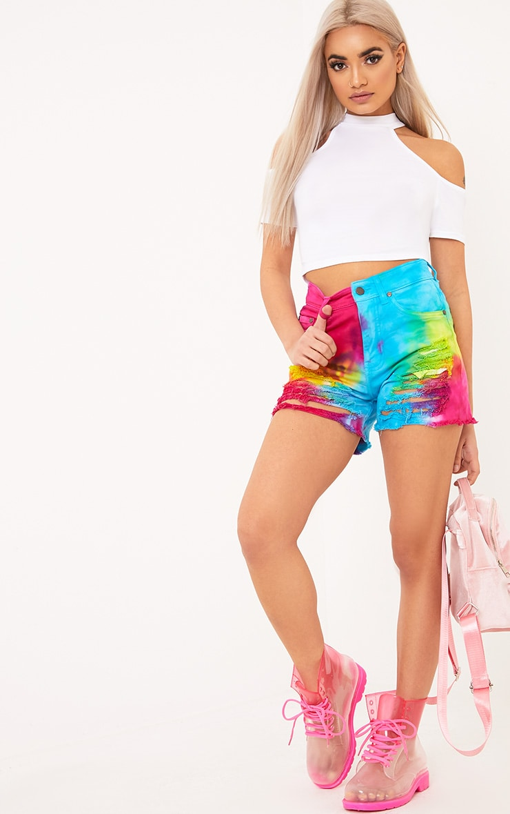 Anaiya Multi Tie Dye Distress Denim Short 5