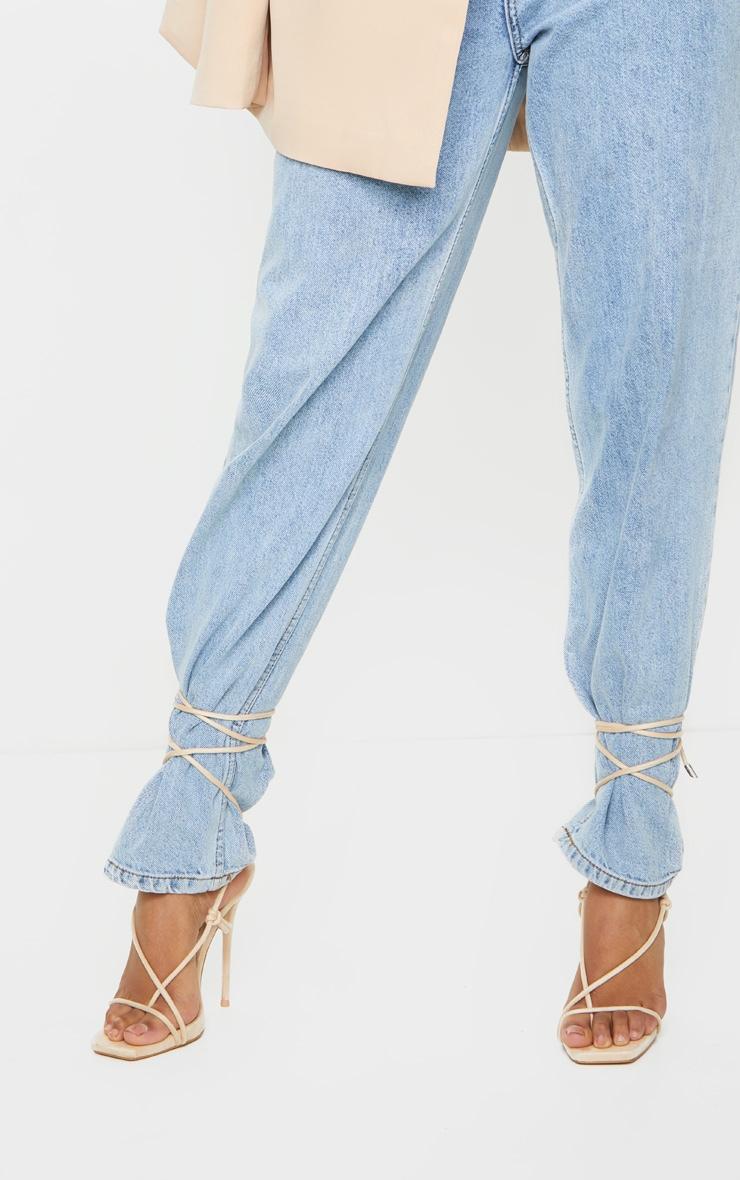 Nude Square Toe Stiletto Heel Strappy Sandal 2