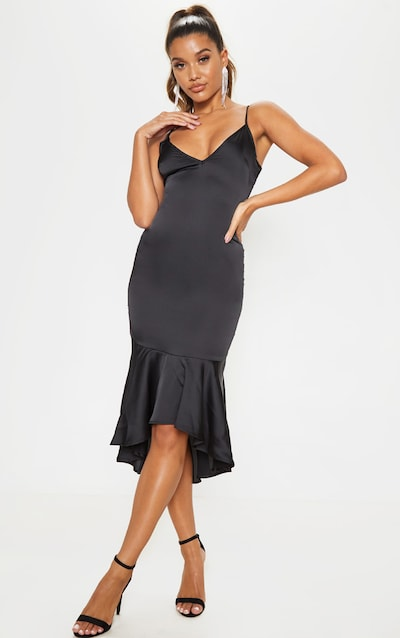 Black Frill Hem Midi Dress