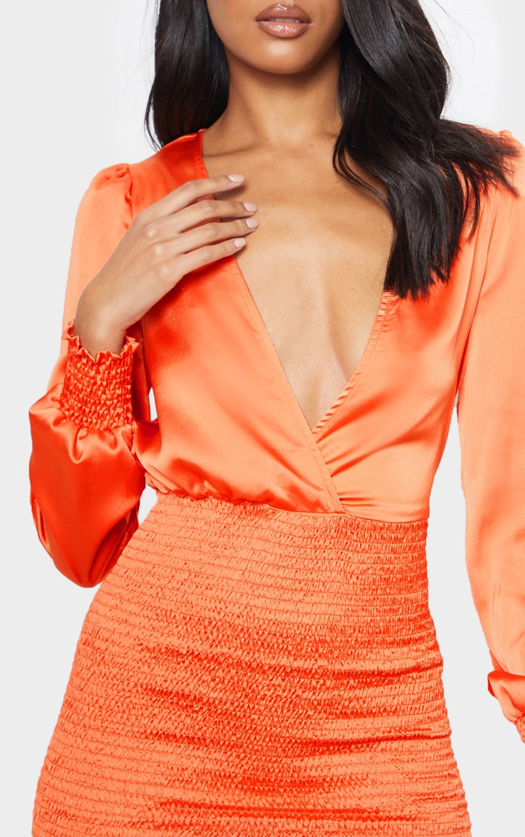 Orange Shirring Bodycon Dress 5