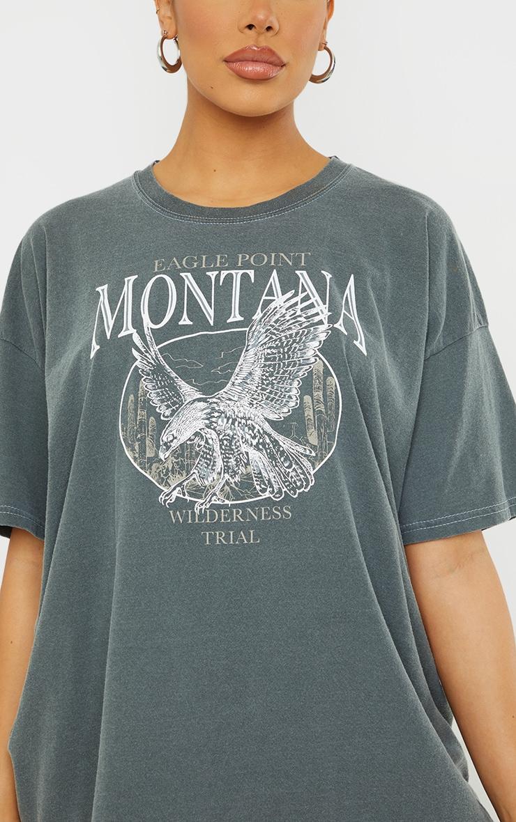 Black Montana Logo Oversized Washed T Shirt 4