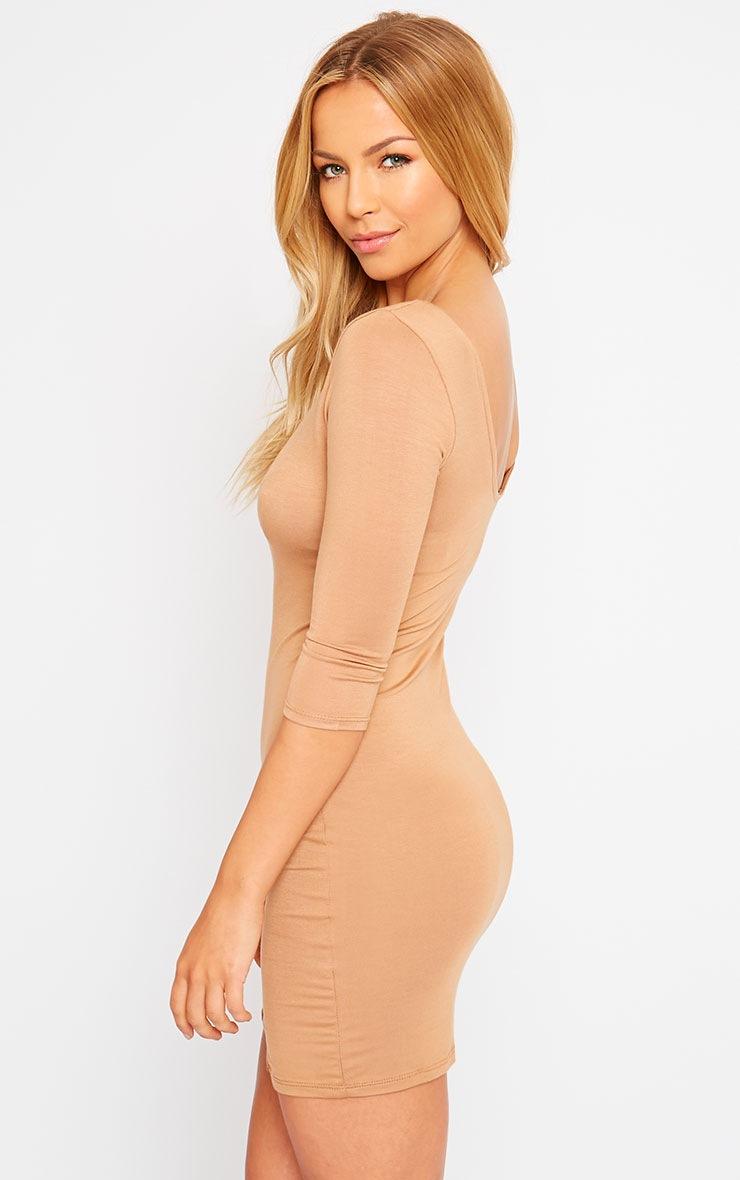 Basic Camel Scoop Back V Hem Dress 4