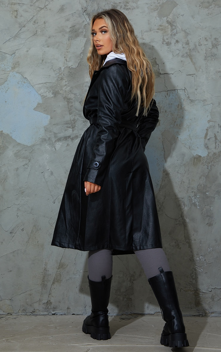 Black Faux Leather Belted Trench 2
