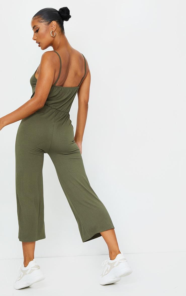 Khaki Strappy Jersey Culotte Jumpsuit 2