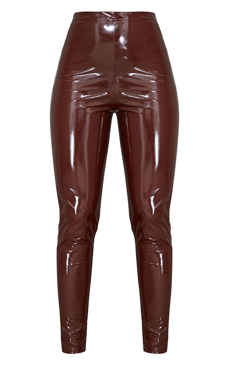 Chocolate Vinyl Pocket Detail Skinny Pants 5