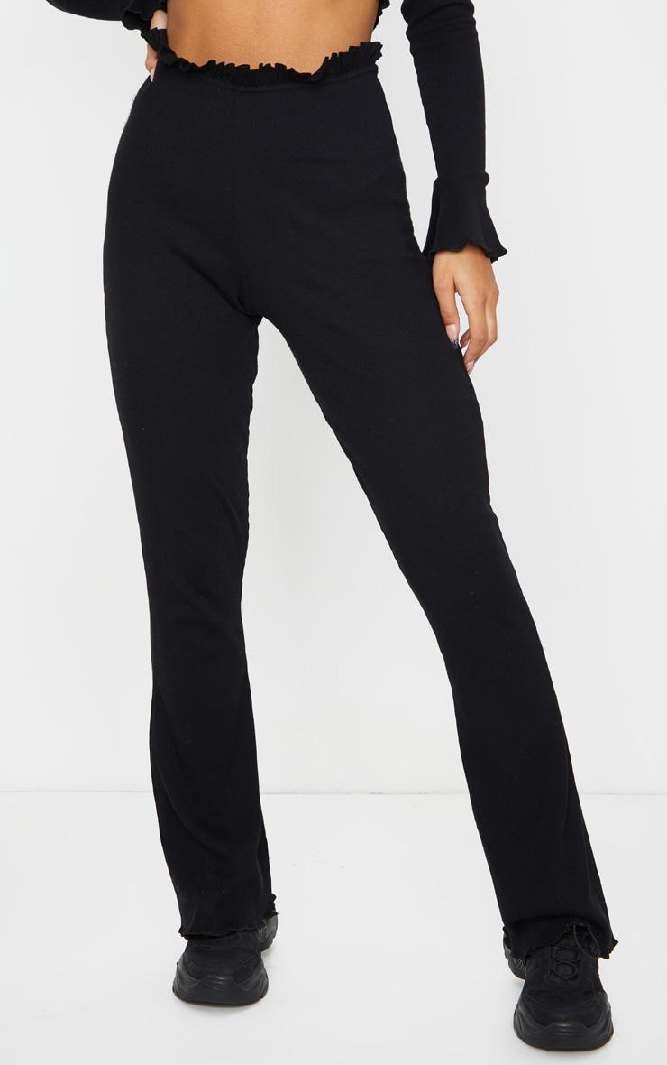 Black Rib Wide Leg Frill Detail Pants 2