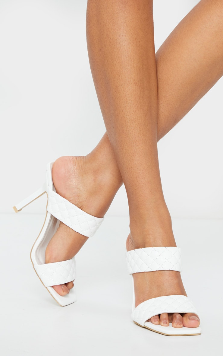 White Twin Strap Quilted Mule Heels 2