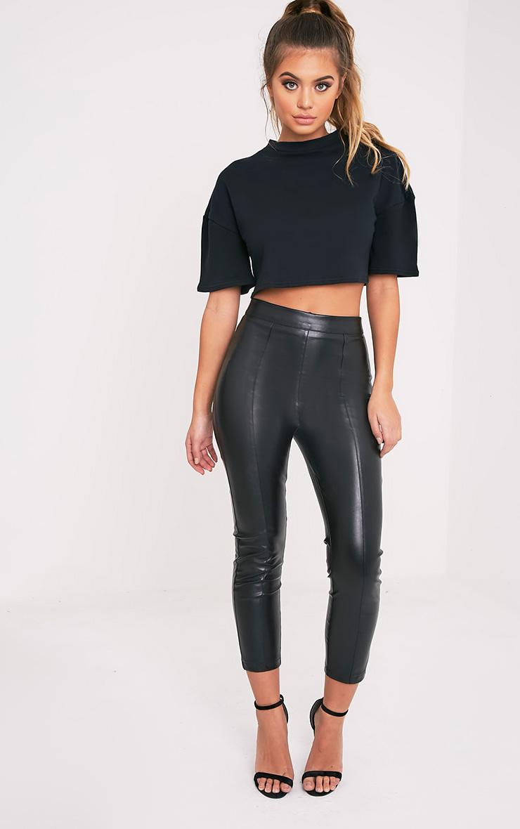 Elna Black Boxy Shortsleeve Crop Sweater 5