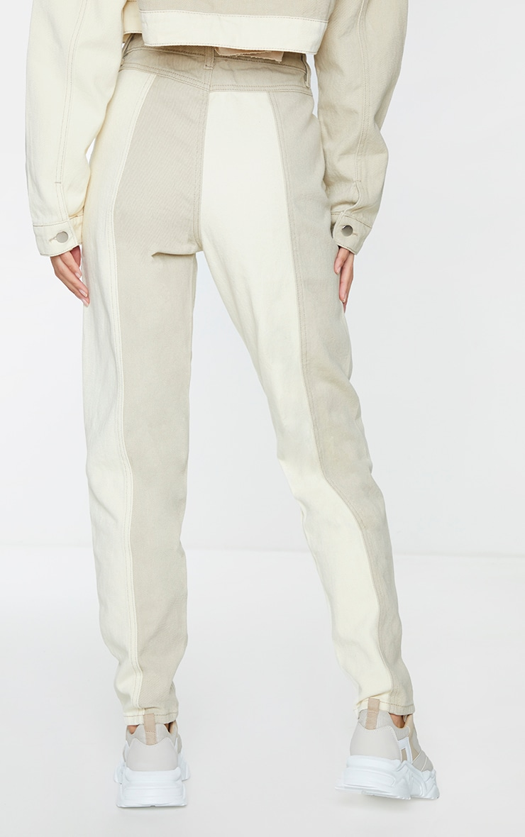 Cream Two Tone Contrast Mom Jeans 3