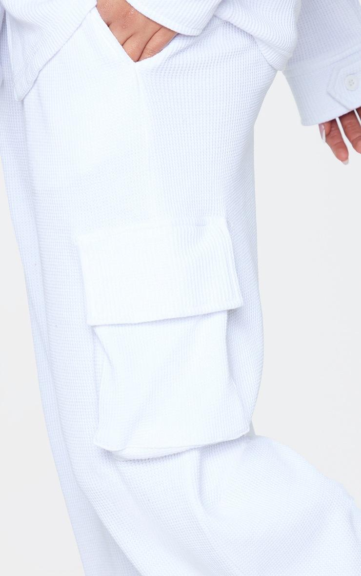 White Waffle Pocket Detail Wide Leg Joggers 4