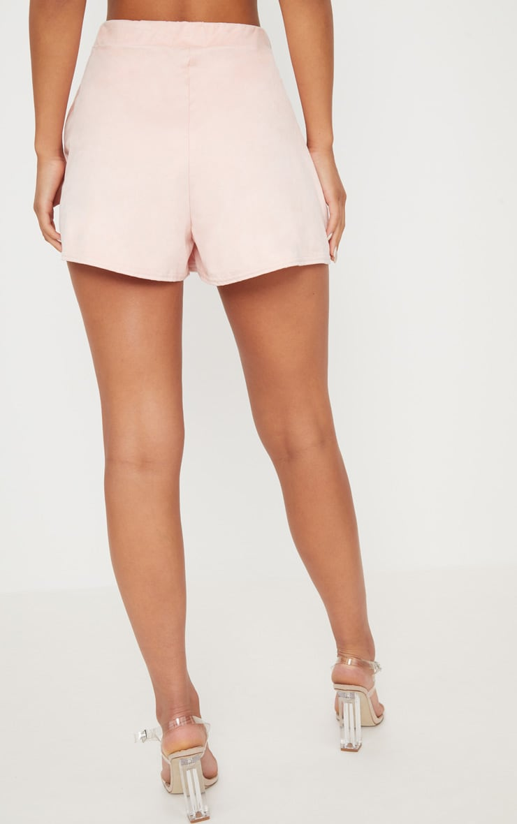 Pale Grey Faux Suede High Waisted Short 4