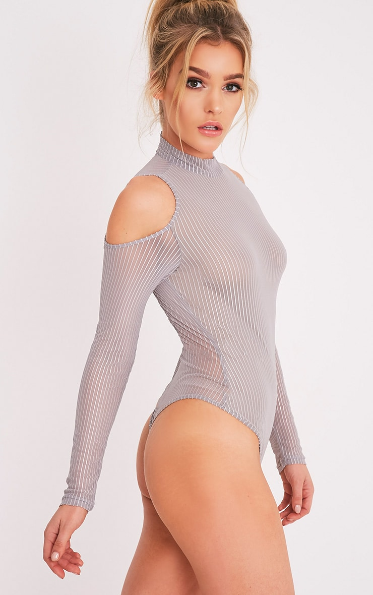 Jessamyn Grey High Neck Sheer Stripe Thong Bodysuit 3