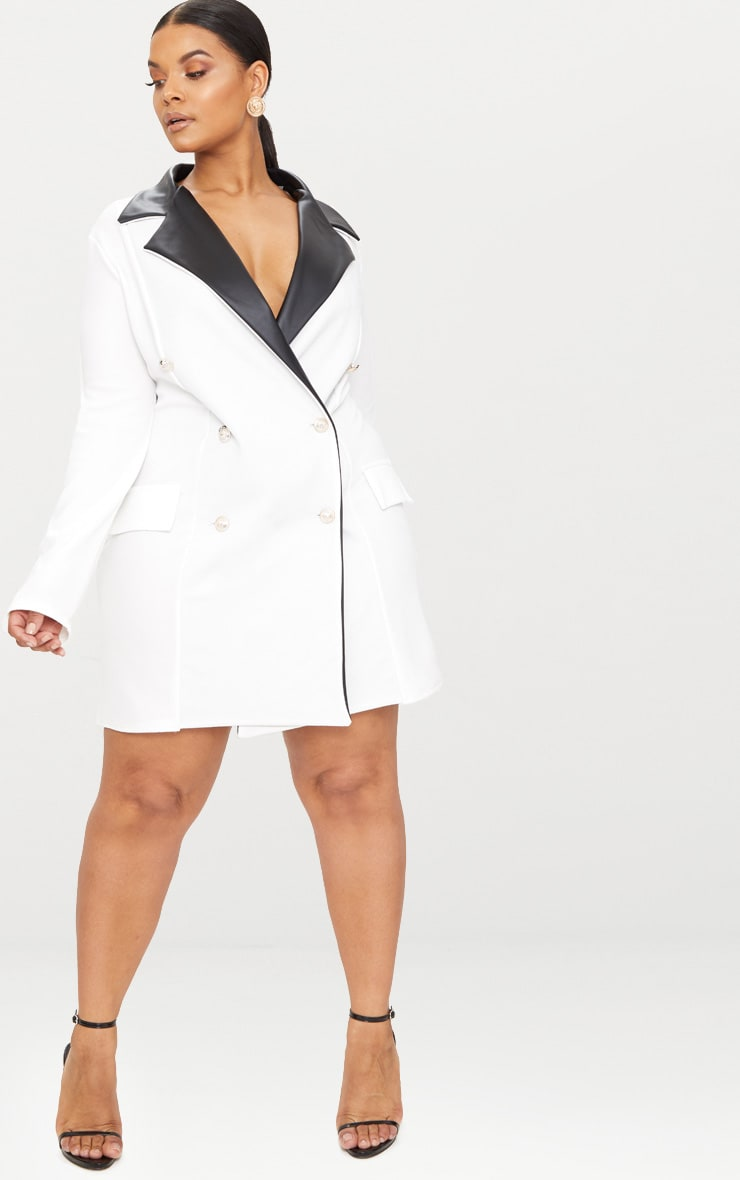 Plus White PU Trim Button Detail Blazer Dress 4
