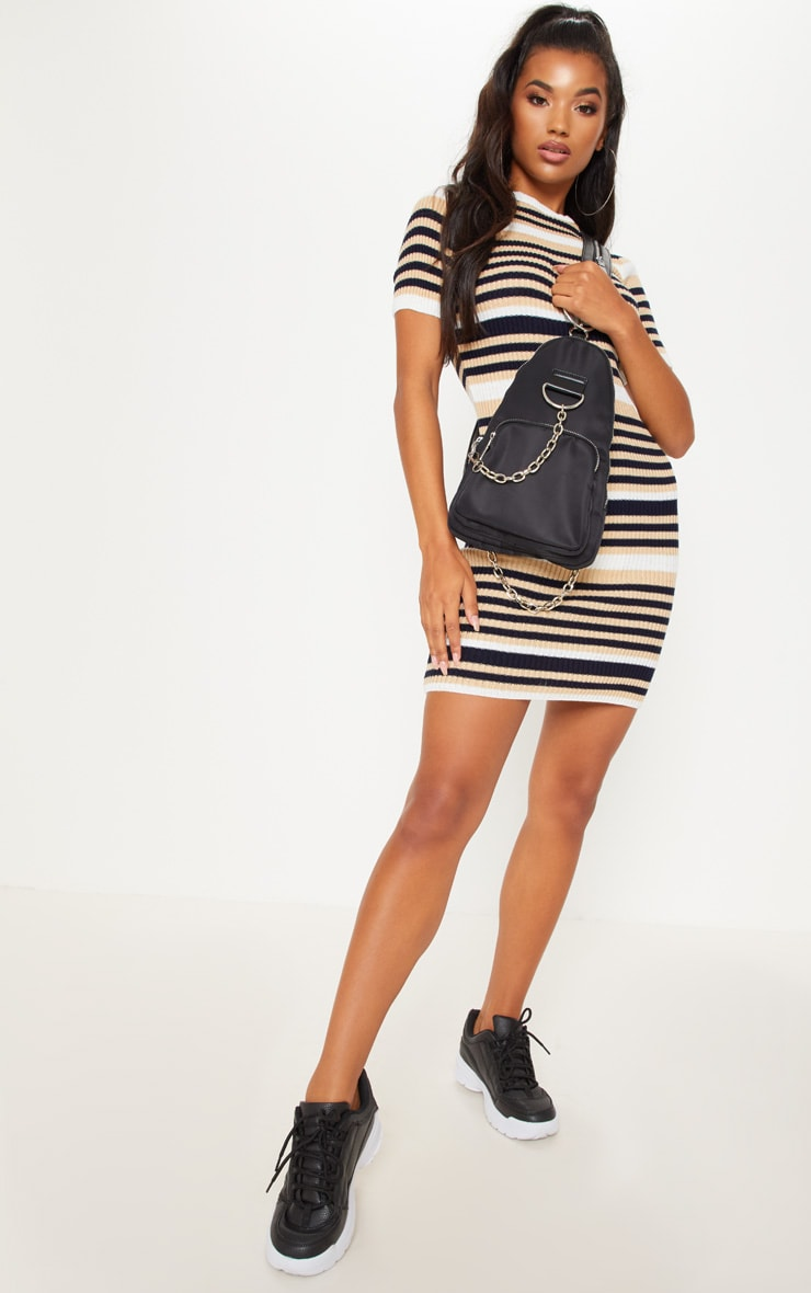Cream  Striped Knitted Short Sleeve Dress 4
