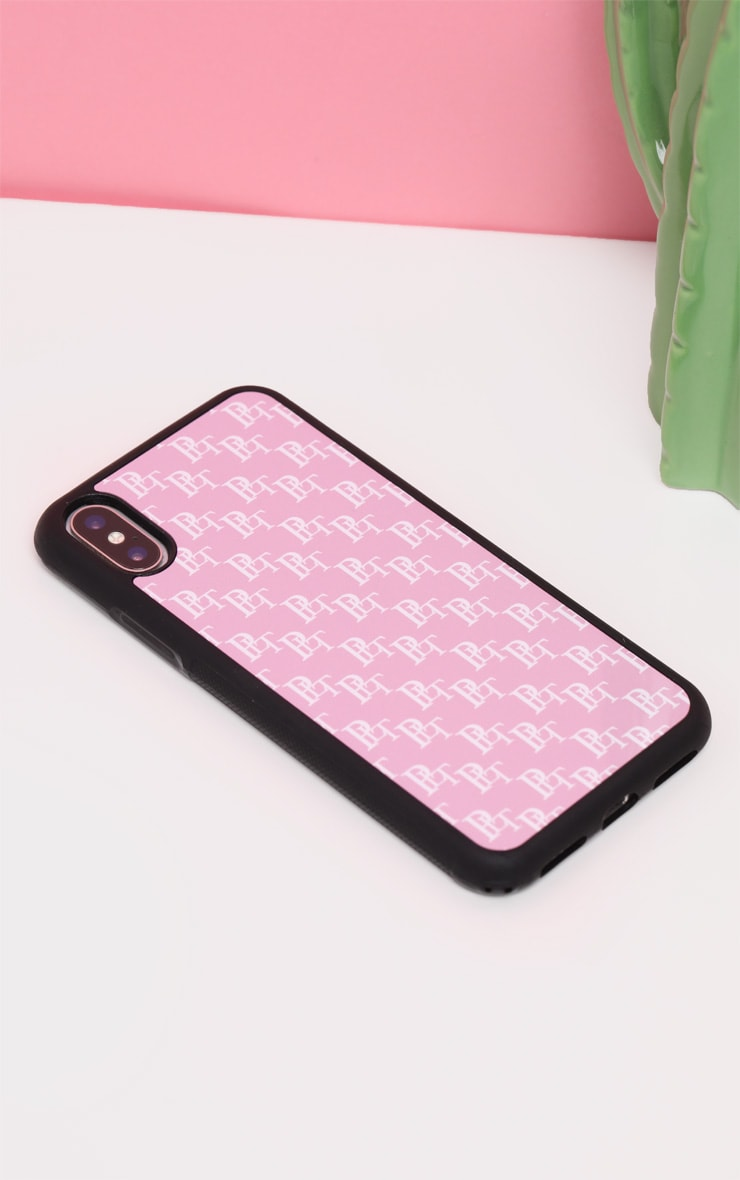 PRETTYLITTLETHING Baby Pink Monogram 10/X/XS iPhone Case  4
