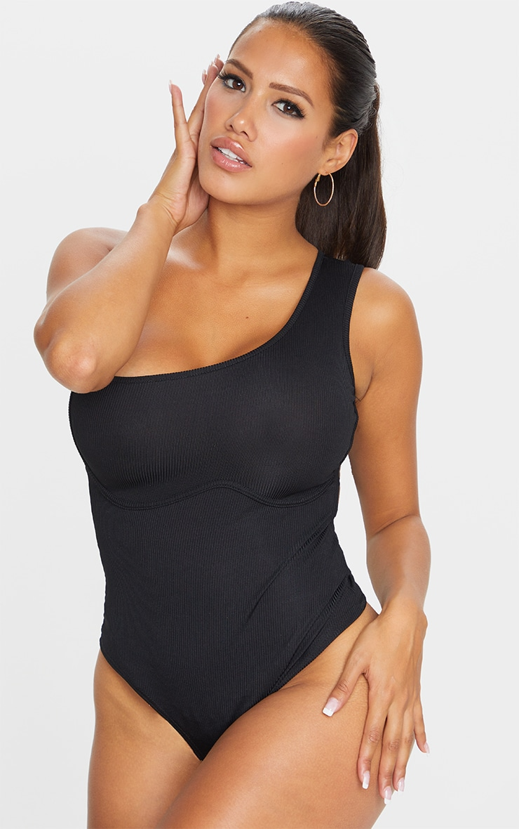 Shape Black Rib One Shoulder Underbust Bodysuit 2