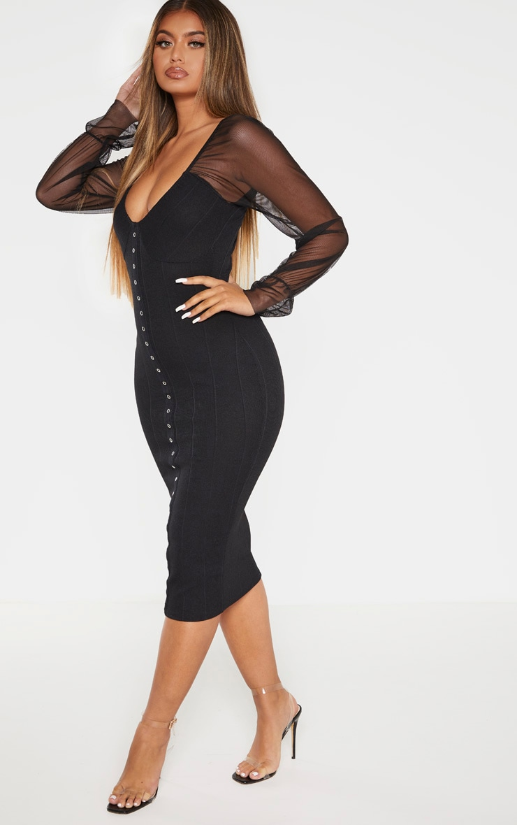 Black Hook and Eye Mesh Sleeve Midi Dress 4