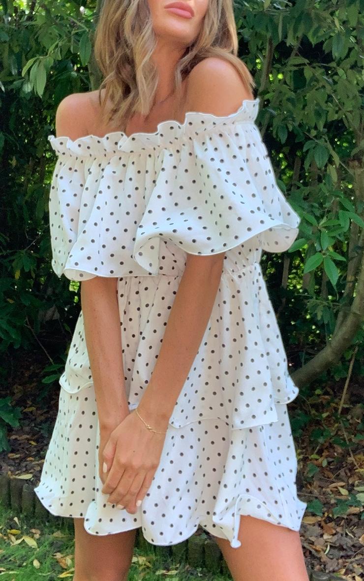 White Polka Dot Bardot Ruffle Tiered Dress 3