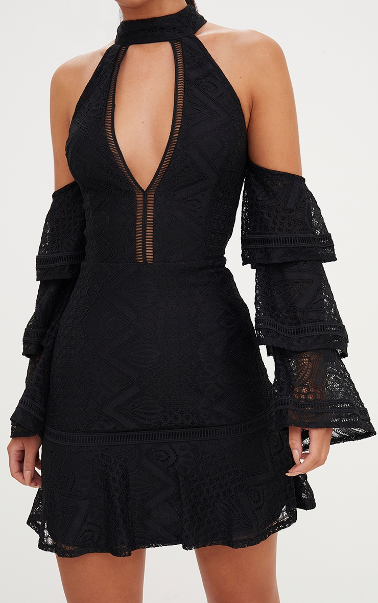 Black Lace Cold Shoulder Frill Sleeve Shift Dress 4