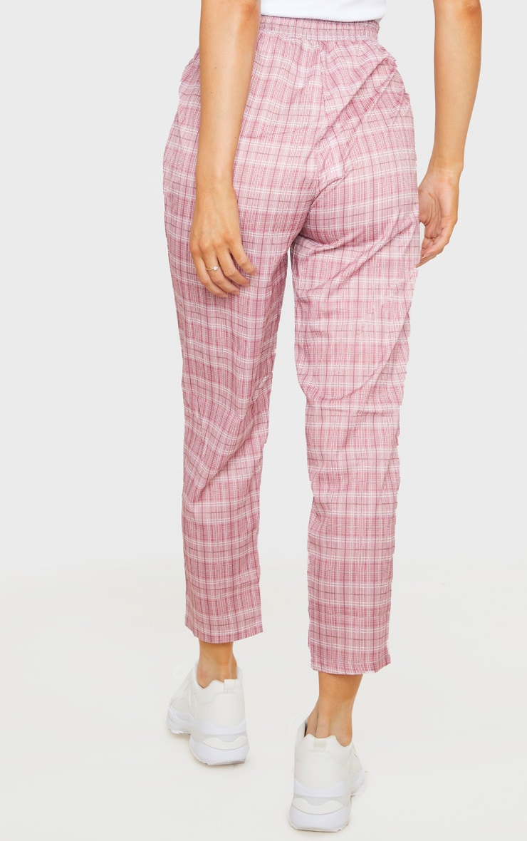 Pink Checked Casual Pants 4