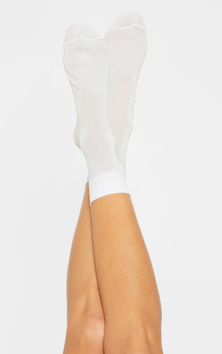 White Textured Glitter Socks