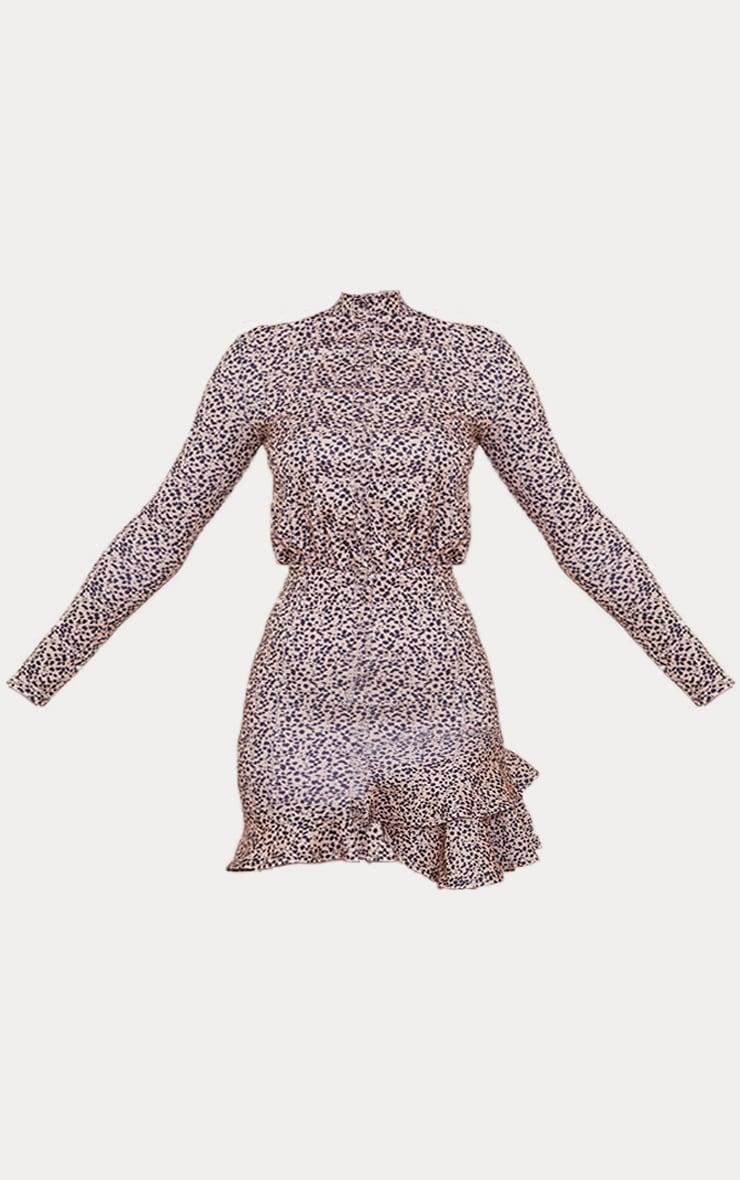 Stone Dalmatian Shoulder Pad Frill Hem Bodycon Dress 5