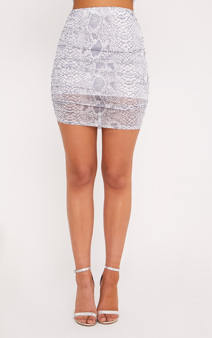 Dreis Grey Snake Print Chiffon Mini Skirt 2