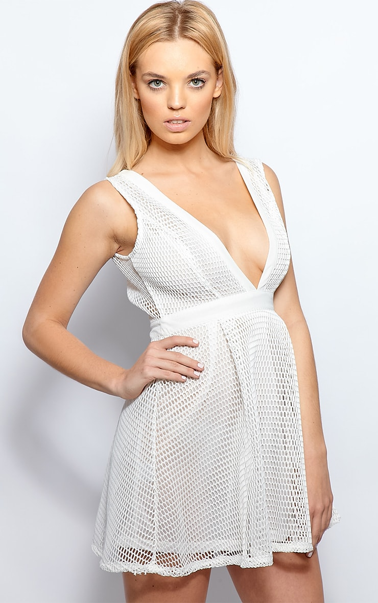 Imogen White Fishnet Skater Dress 4