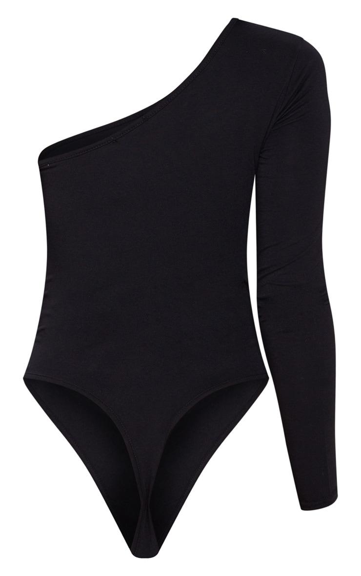 Black One Shoulder Jersey Long Sleeve Bodysuit 4