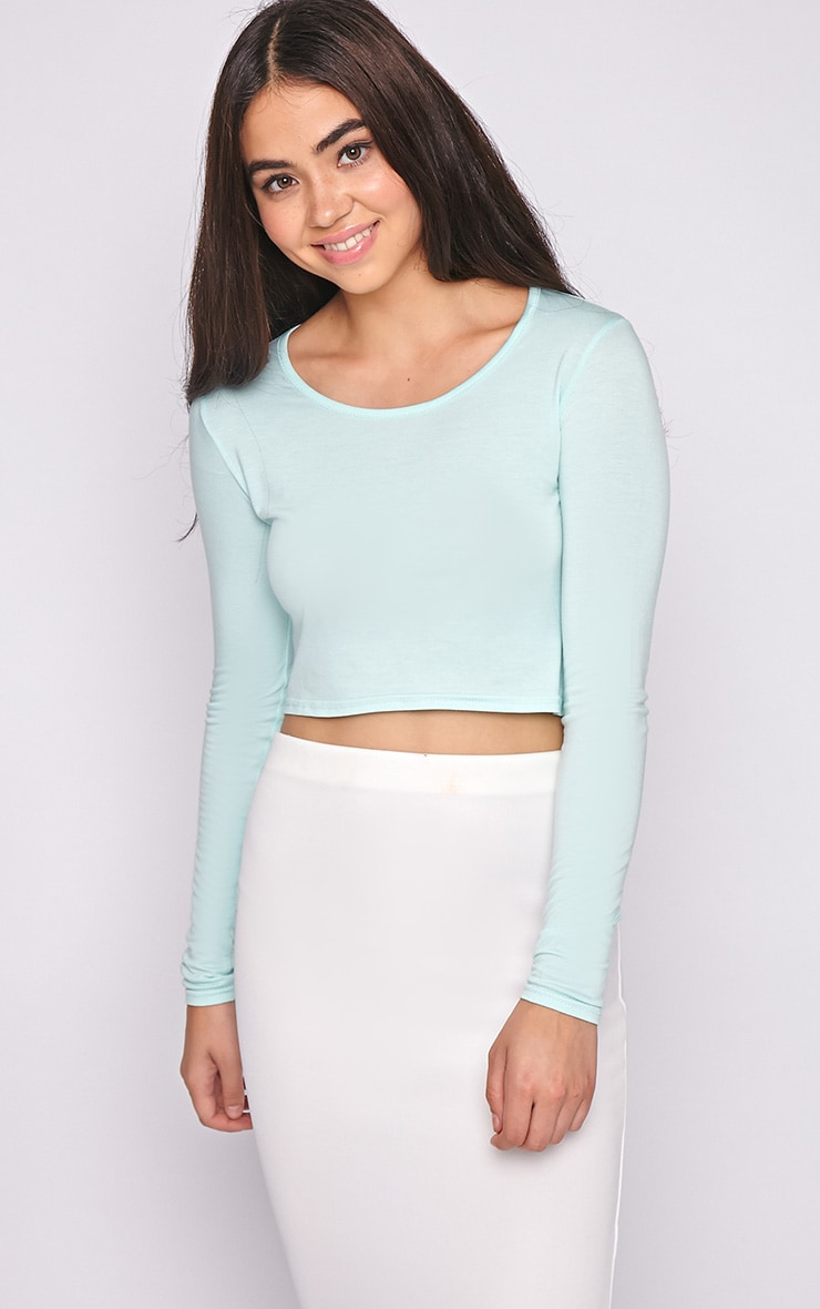 Suzy Mint Long Sleeved Crop Top 4