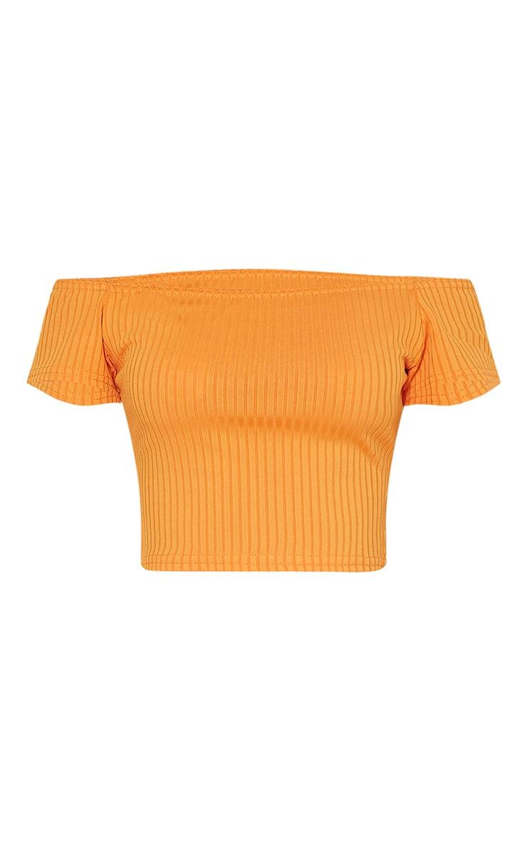 Vega Bright Orange Ribbed Bardot Crop Top 3