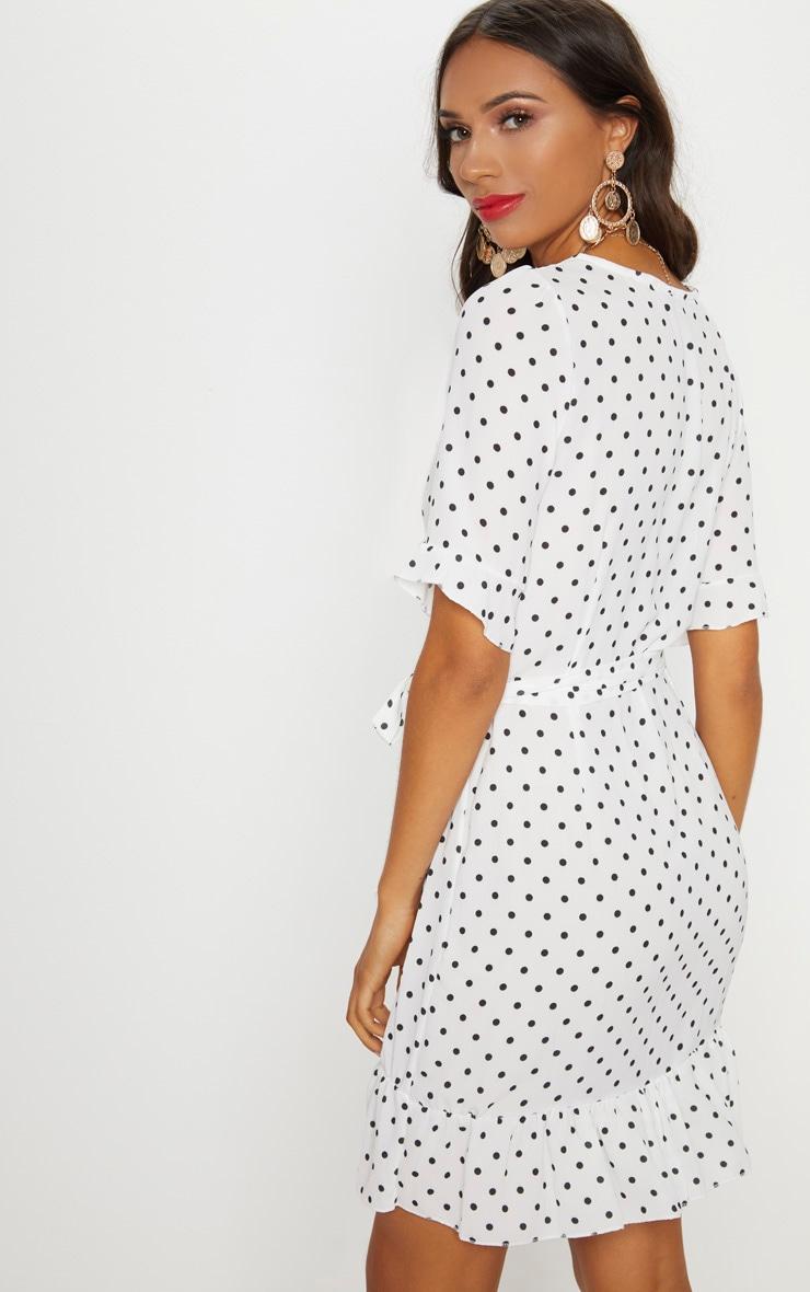 White Polka Dot Wrap Over Dress Dresses Prettylittlething